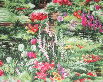 BTY FLORAL GARDEN on Green Print 100% Cotton Quilt Craft Fabric by the Yard