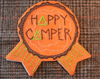 """Hand-embroidered Felt Adult Camping Award Badge Pin """"Happy Camper"""""""