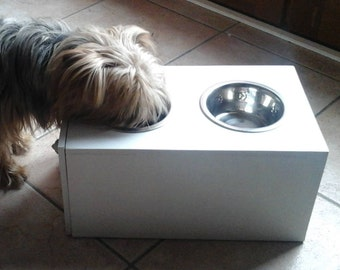 Dog bowl holder wood, is stainless steel cat Bowl, feeder animal wood box has drawer kibble with bowls, Doggie gift, old stock