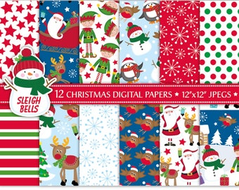 Christmas Digital Papers,Christmas Scrapbook Papers,Santa Papers,Rudolph Papers,Holiday Papers,Scrapbooking,Christmas Backgrounds,Commercial