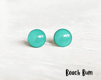 Beach earrings, Teal earrings, Aqua post earrings, blue earrings, green earrings, Dot earrings, Ear Sugar earrings, Teal studs