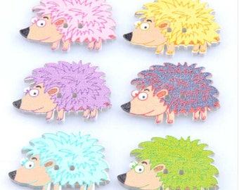 Set of 5 hedgehogs wooden buttons