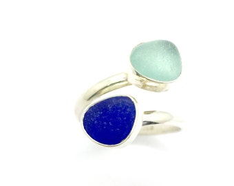 Sea glass ring, Adjustable Sea glass Ring, Blue Sea glass Ring, Beach glass Ring
