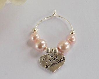 Chief Bridesmaid Gift, Hen Party Gift, Bridesmaid Wine Charm, Wedding Favour, Bridesmaid Gift, Pink Bridesmaid, Hen Party Wine Charm