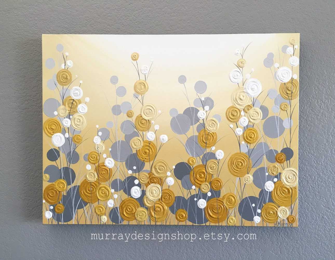Mustard Yellow and Grey Wall Art Textured Painting Abstract