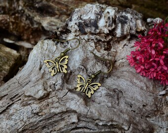 bronze butterfly earrings
