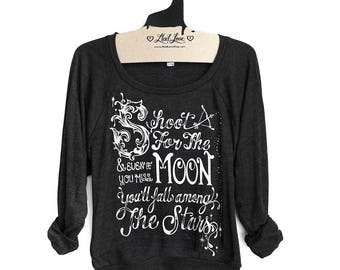 SALE Small- Charcoal Black Tri-Blend Sweatshirt with Shoot for the Moon Print