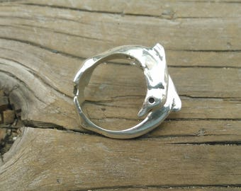 Sterling Silver Twin Dolphin Ring
