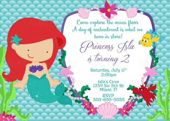 Printable princess ariel the little mermaid birthday party like this item filmwisefo Choice Image
