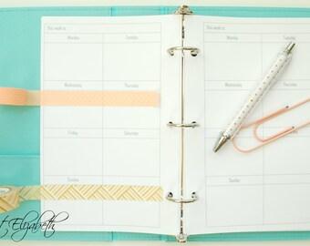 Basic Weekly Calendar - A5 Sized