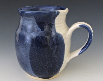 Stoneware Medium Pitcher or Creamer. Cobalt Blue. White Gloss. Delft Blue. Denim. Indigo. Snow White. 24oz..