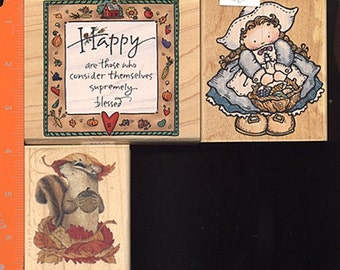 NEW LOT of Wooden Rubber Stamps Thanksgiving, Fall, Pilgrim