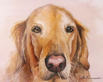 Original custom watercolor pet portrait