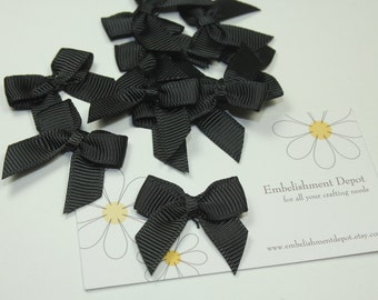 "10 Piece- 1"" Small Black Bows-Sewing Supplies-Hair Bow Supplies-Craft Supplies"