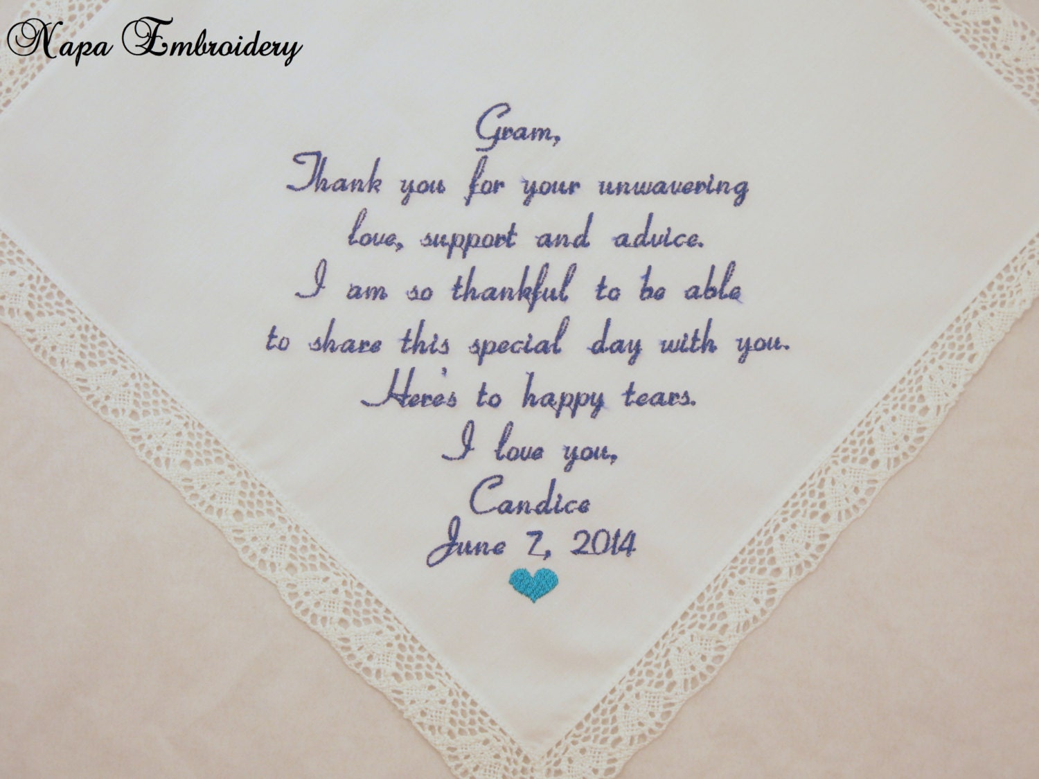 Wedding Gift for Grandma Embroidered Handkerchief for Grandmother ...