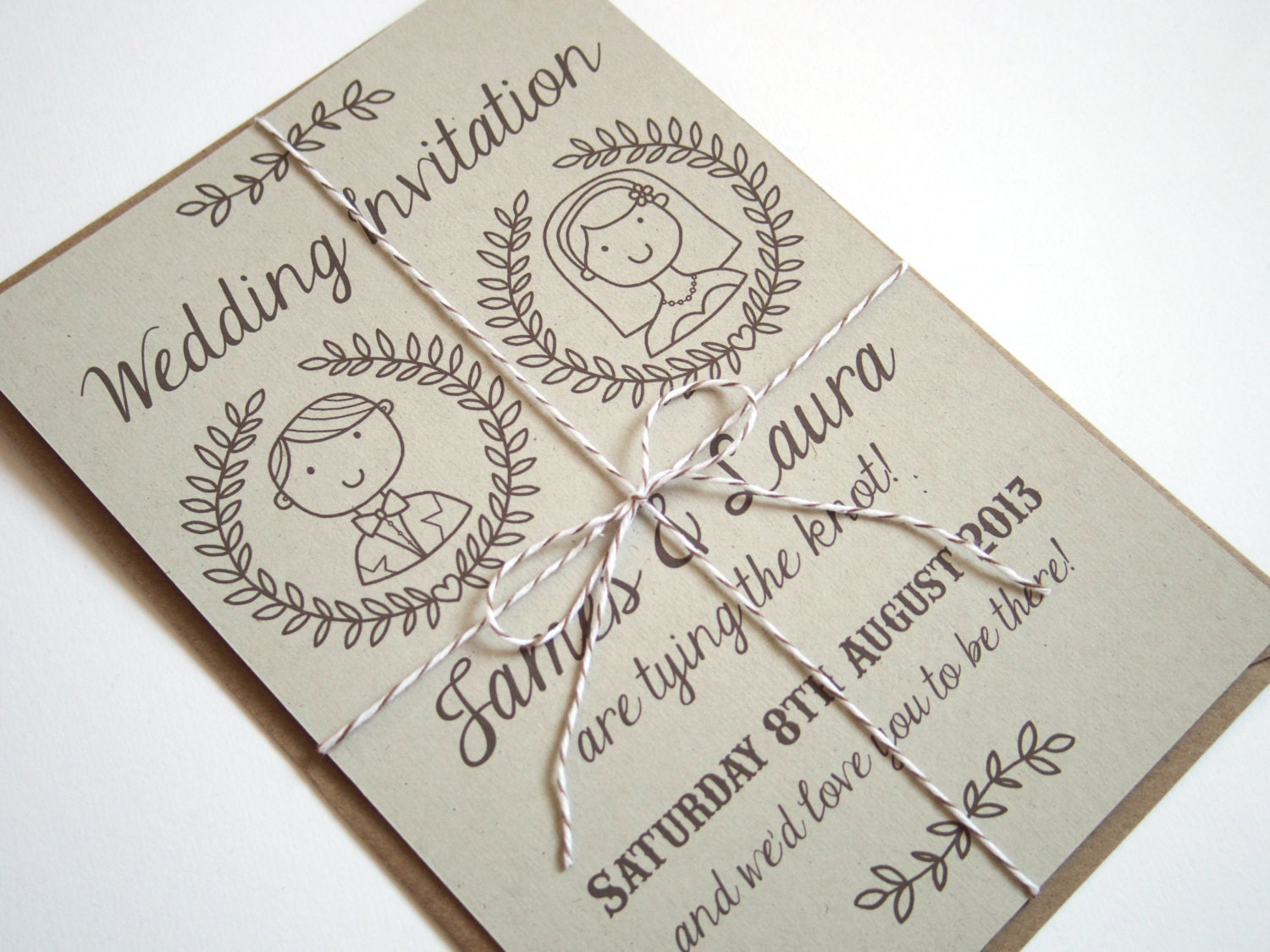 Wedding Invites Personalised: Country Couple Personalised Illustrated Wedding Invitation