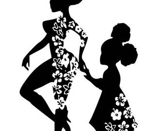 Mini Me Afro Girl Mother and Daughter SVG, Digital Image, Afrocentric, Afro Puffs, Black Girl Silhouette, Mommy and Me Image,