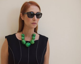 Green Statement Necklace. Big Necklace Chunky Resin Choker Necklace