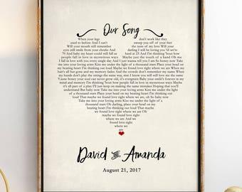 Custom Song Lyrics - Wedding Song Lyric Art - Personalized Song Lyrics - Custom Print - First Anniversary Gift - Gift Idea