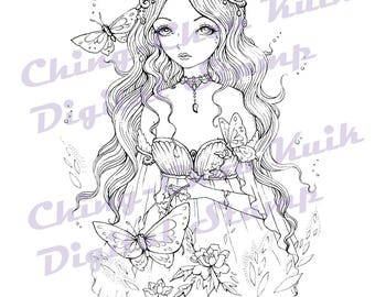Spring Charm - Instant Download Digital Stamp / Flower Coloring Art Goddess Fairy Girl by Ching-Chou Kuik