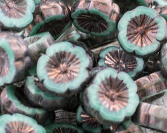 14mm Turquoise Silver Picasso Hawaiian Flower Beads - 6 or 10 Beads - 1695 - Carved Turquoise Picasso Flower Beads