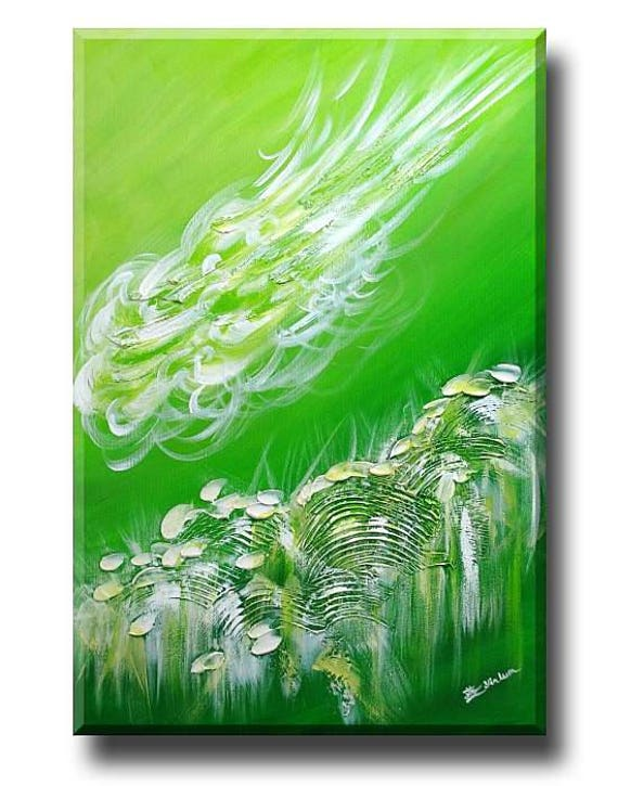 "Green Art Painting, Tropical Wall Art, bedroom painting, living room abstract art, green landscape painting, cloud art, flower field 24""x36"""