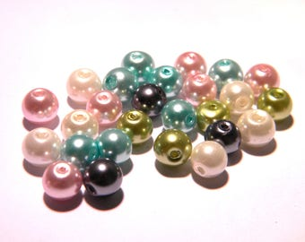 20 beads 8 mm glass Pearl iridescent - pastel mix - F80