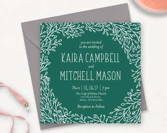 Rustic Printable Wedding Invitation / Greenery Wedding Invitation Printable / Elegant Wedding Invitations / Woodland Wedding