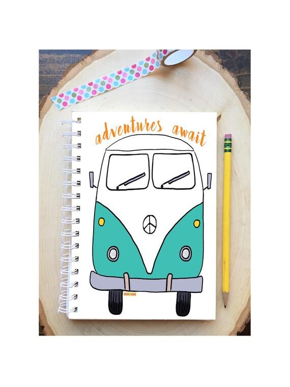 VW Bus Spiral Bound Notebook - VW Van notebook - Hard Notebook - Spiral Journal - Back to School - VW Gift - Journal - Adventures