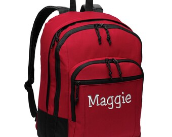 Basic Backpack - Monogrammed.  Embroidered Backpack. School College Backpack. Monogram Basic Backpack. SM-BG204