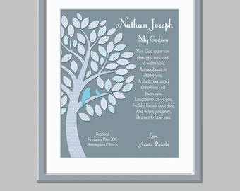 Baptism Gift For Godchild - Baptism for Godson - Personalized Godson Print - Christian Baby Gift - Baptism Gift Christening - Printable