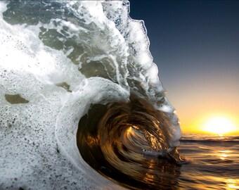 San Francisco Sunrise Barrel - 8x12 12x18 16x24 24x36 Lustre Print - Surf Photography - Water Photography - Modern Art Wall Art