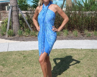 Women's Sarong, Beach Coverup, Blue Sarong, Blue Coverup, Resort wear, Beach Cover up,  Swimsuit coverup, Pareo, Stocking stuffer for women