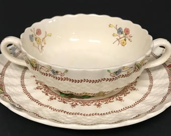 Spode Cowslip China Soup Bowls & Saucers