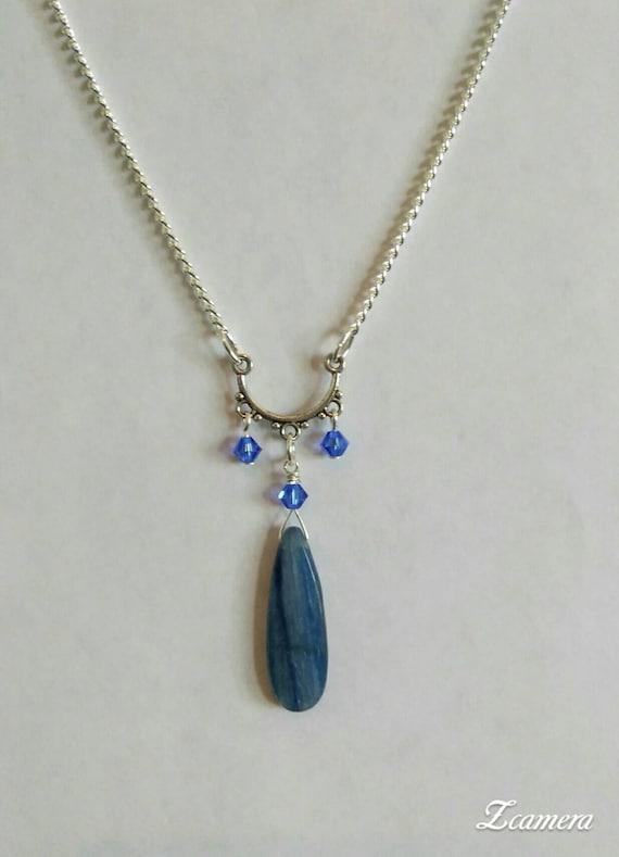 Kyanite and Swarovski Crystal Necklace N6151711