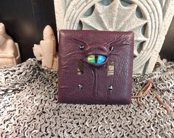 Double Light switch cover:Burgundy Leather and Rainbow Eye