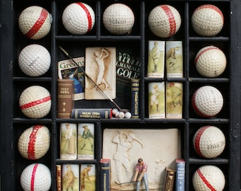 """OOAK """"Golfer's library""""  -collectible books-Golf wall decor-miny library-golf lovers-golf gift-Irwing golf club-Golf collectibles-"""