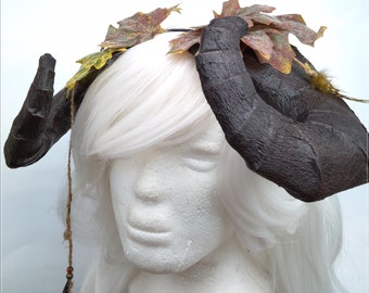 Ram horns, Horn headdress, goat horns, cosplay horns, krampus, gothic, lolita, steampunk, victorian, fantasy