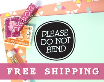 Please Do Not Bend Stamp, Fragile Stamp, Packaging Stamp, Mail Stamp, Do Not Bend Rubber Stamp, Wedding Stationery, Small Business Stamps