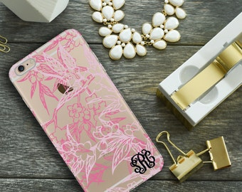 Transparent Iphone 6 case with design, Pink Iphone 6 Plus case clear, Pretty fashion accessories, Unique gift for wife or girlfriend  (1614)