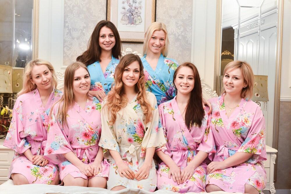 floral nupcial partido trajes novia bata algodón monograma