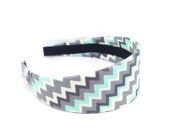 Wide Chevron Headband - Mint green, gray and off-white, Hard headband for Adults, Big Girls Hard Headband,  Women's Hair Band Fabric Covered