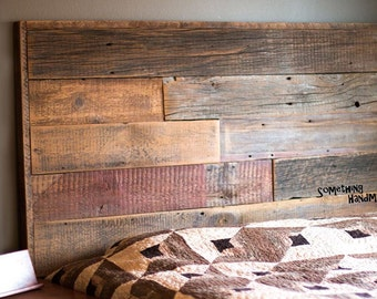 Barn wood rustic,weathered  headboard made from 1800s reclaimed  minnesota barn wood