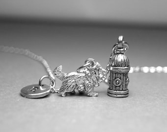 Border collie dog necklace, dog necklace, collie dog charm, dog jewelry, fire hydrant necklace, personalized necklace, initial necklace