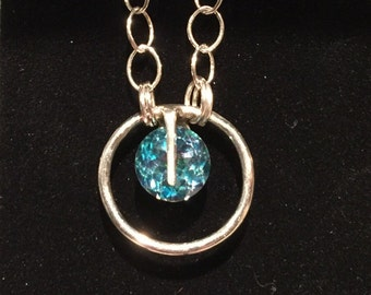 gemstone sterling silver one of a kind unique blue topaz necklace