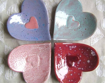 Heart in Heart Ceramic Dish, wedding, bridal, bowl, catchall, jewelry, ring dish, soap dish, candle holder, teabag holder, spoonrest.