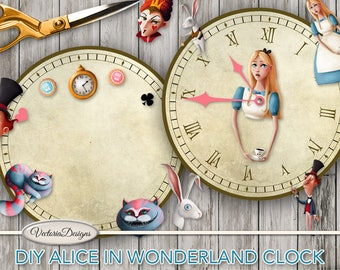 Alice in Wonderland DIY Clocks printable party decor paper crafting assembly kit digital download digital collage sheet S3I1 - VDCLAL1633