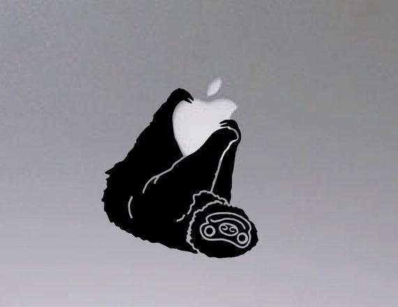 Sloth hanging on macbook vinyl decal