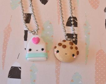 Milk and Cookie Best Friend Necklace, Kawaii Charms, Food Jewelry, BFF Jewelry, Best Friend Gift, Best Friend Jewelry, Milk and Cookie Charm