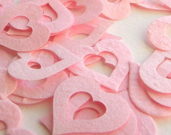 100+  paper hearts in soft pink -  pink paper heart confetti - wedding confetti - party supplies - shower decor - table scatter